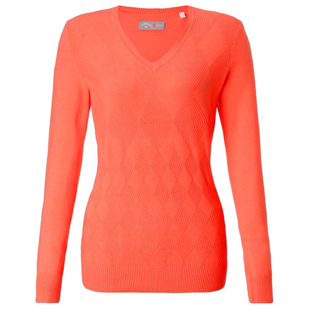 CALLAWAY - PULL FEMME COL V COTON orange
