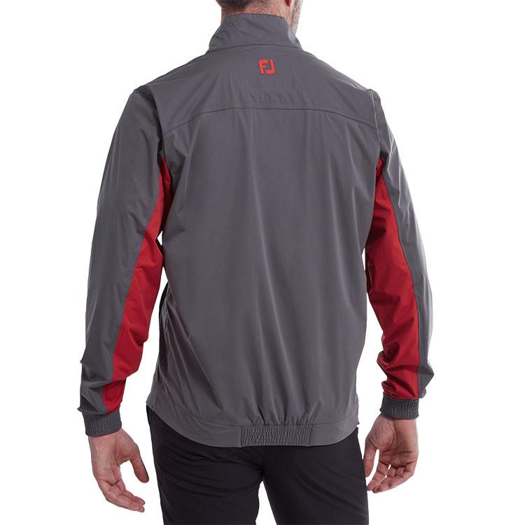 Footjoy - Veste de pluie 1/2 zip HydroKnit Gris rouge homme dos