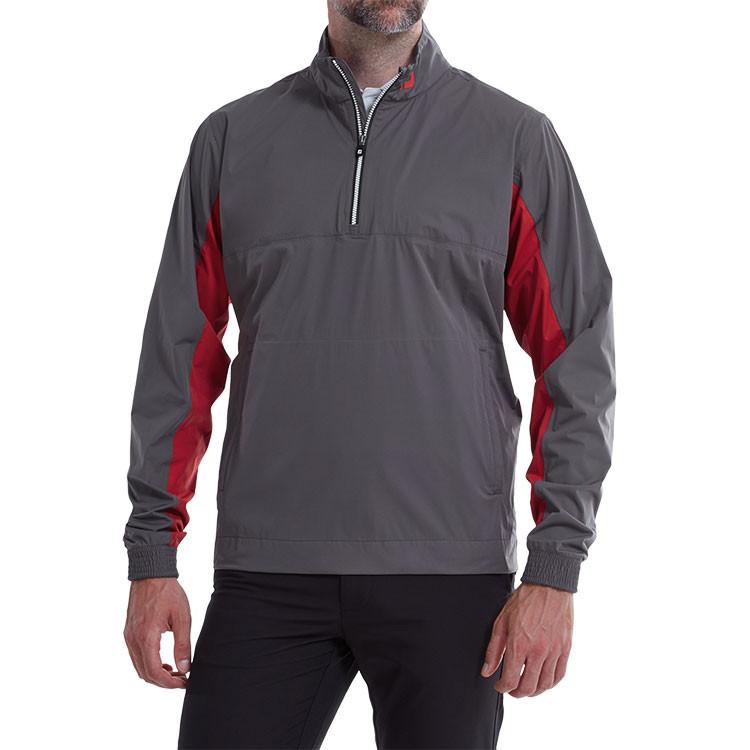 Footjoy - Veste de pluie 1/2 zip HydroKnit Gris rouge homme