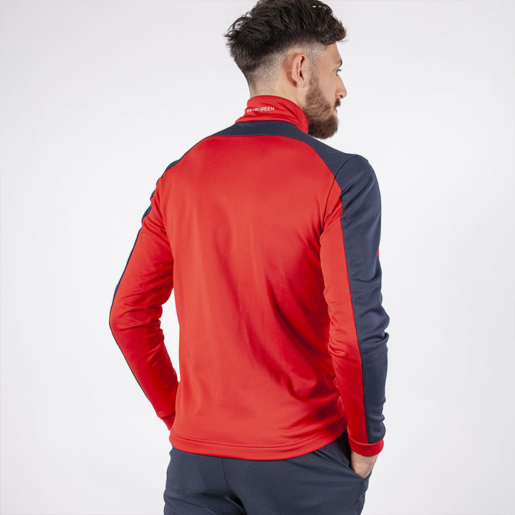 Galvin Green - Sweat Dwight rouge demi-zip homme dos