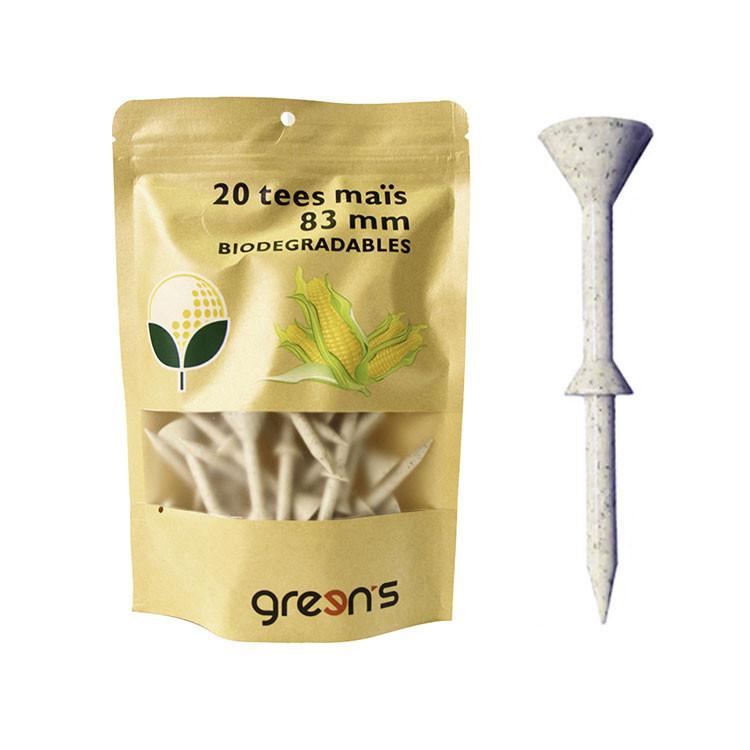 GREENS---SACHET-DE-20-TEES-83MM-BIODEGRADABLE-EN-MAIS biodégradable écologique-GOLF-PLUS