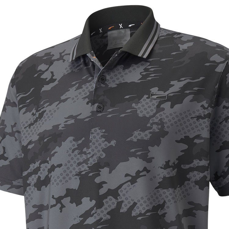 Puma Polo Camouflage Noir Gros Plan Golf Plus