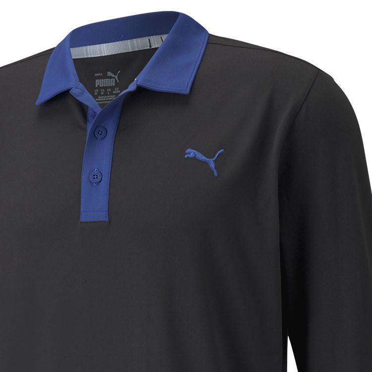 Puma Polo Cloudspun Longsleeve Bleu Marine Gros Plan Epaule Golf Plus