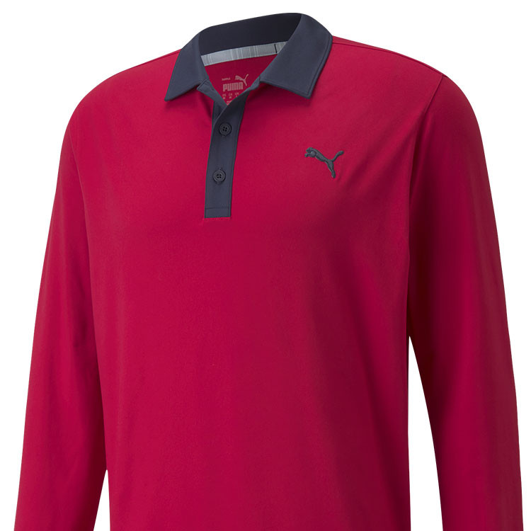 Puma Polo Cloudspun Longsleeve rouge Gros Plan Golf Plus