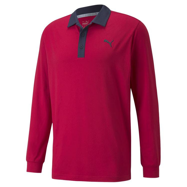 Puma Polo Cloudspun Longsleeve rouge rand Angle Golf Plus