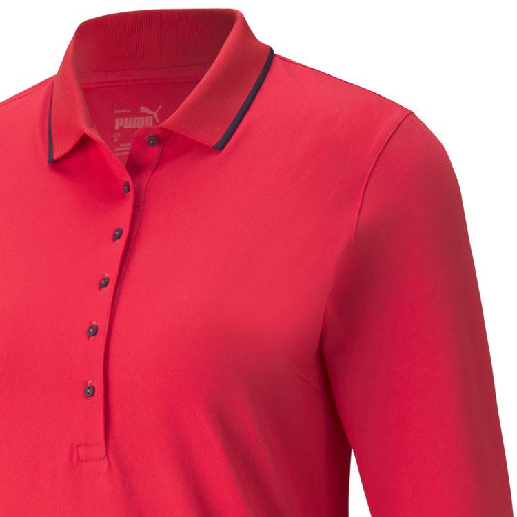 Puma Polo Manches Longues Femme Rouge Gros Plan Epaule Golf Plus