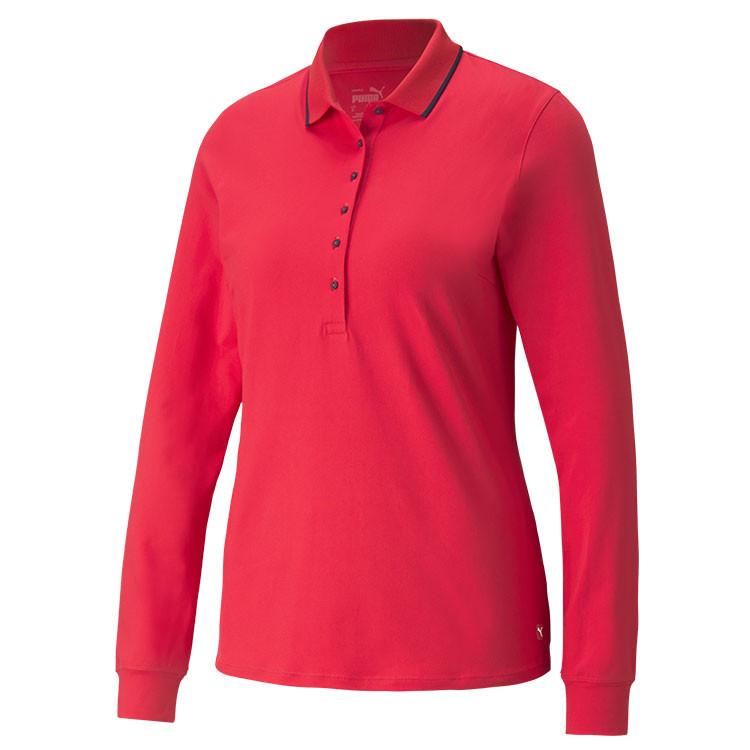 Puma Polo Manches Longues Femme Rouge Grand Angle Golf Plus