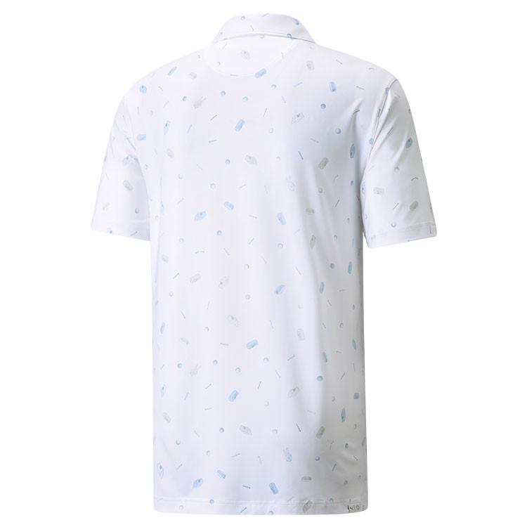 Puma Polo Snack Shack Homme Blanc Bleu De Dos Golf Plus
