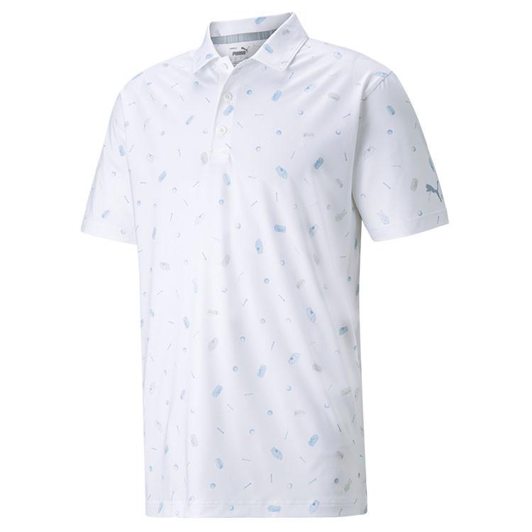 Puma Polo Snack Shack Homme Blanc Bleu Grand Angle Golf Plus
