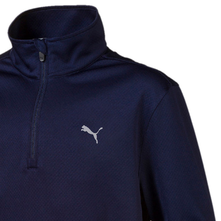 Puma Sweat 1/4 Junior Marine Gros Plan Epaule Golf Plus