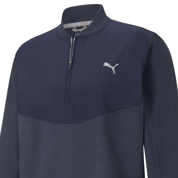 Puma Sweat Cloudspun SLTH Zip 1/4 Bleu Homme Gros Plan Golf Plus