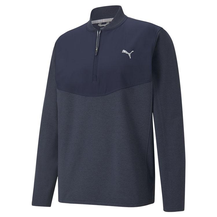 Puma Sweat Cloudspun SLTH Zip 1/4 Bleu Homme De Face Golf Plus