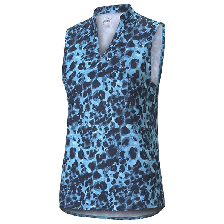 Puma Polo Imprime Animal Sm Bleu Femme Golf Plus
