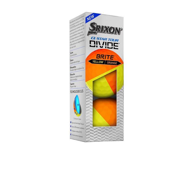 Srixon - Balles Bicolores Q-Star Tour Divine Jaune/Orange 3 balles
